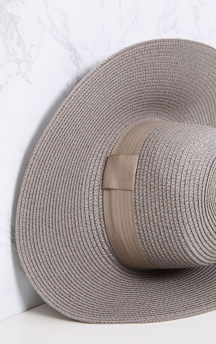 Grey Wide Brim Straw Sun Hat 5
