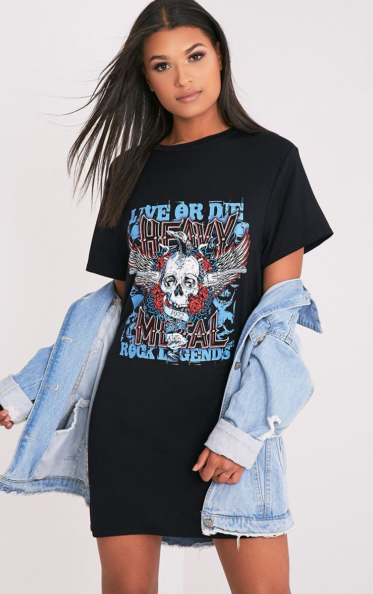 Live Or Die Skull Black T-Shirt Dress 1