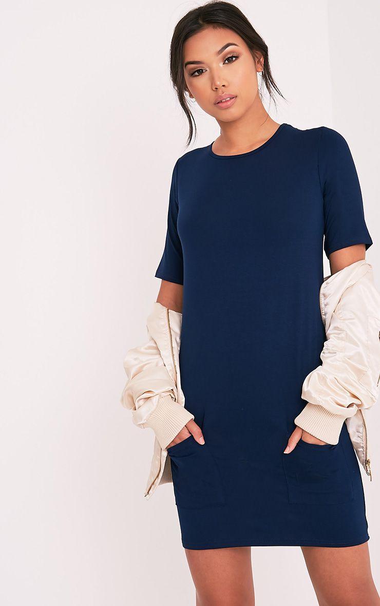 Basic Navy Pocket Detail T Shirt Dress