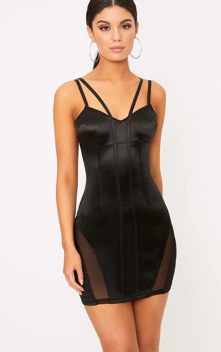 Reo Black Satin Bodycon Dress