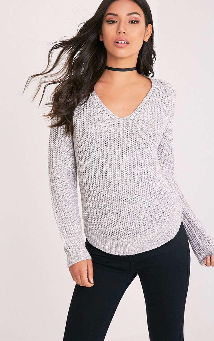 Product photo of Elania grey v neck cable knit jumper grey