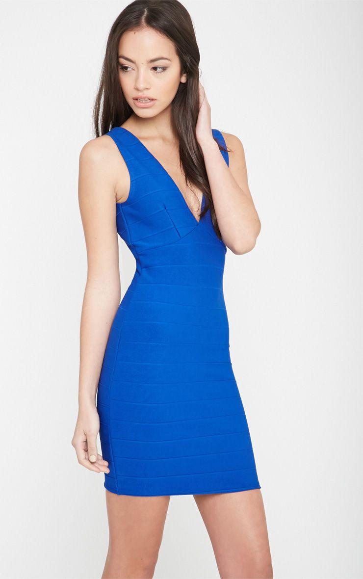 Tatiana Cobalt Plunge Bandage Dress 1