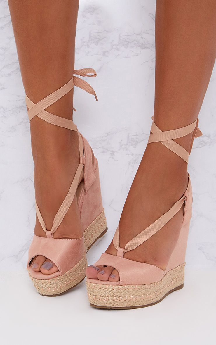 Blush Lace Up Faux Suede Wedges