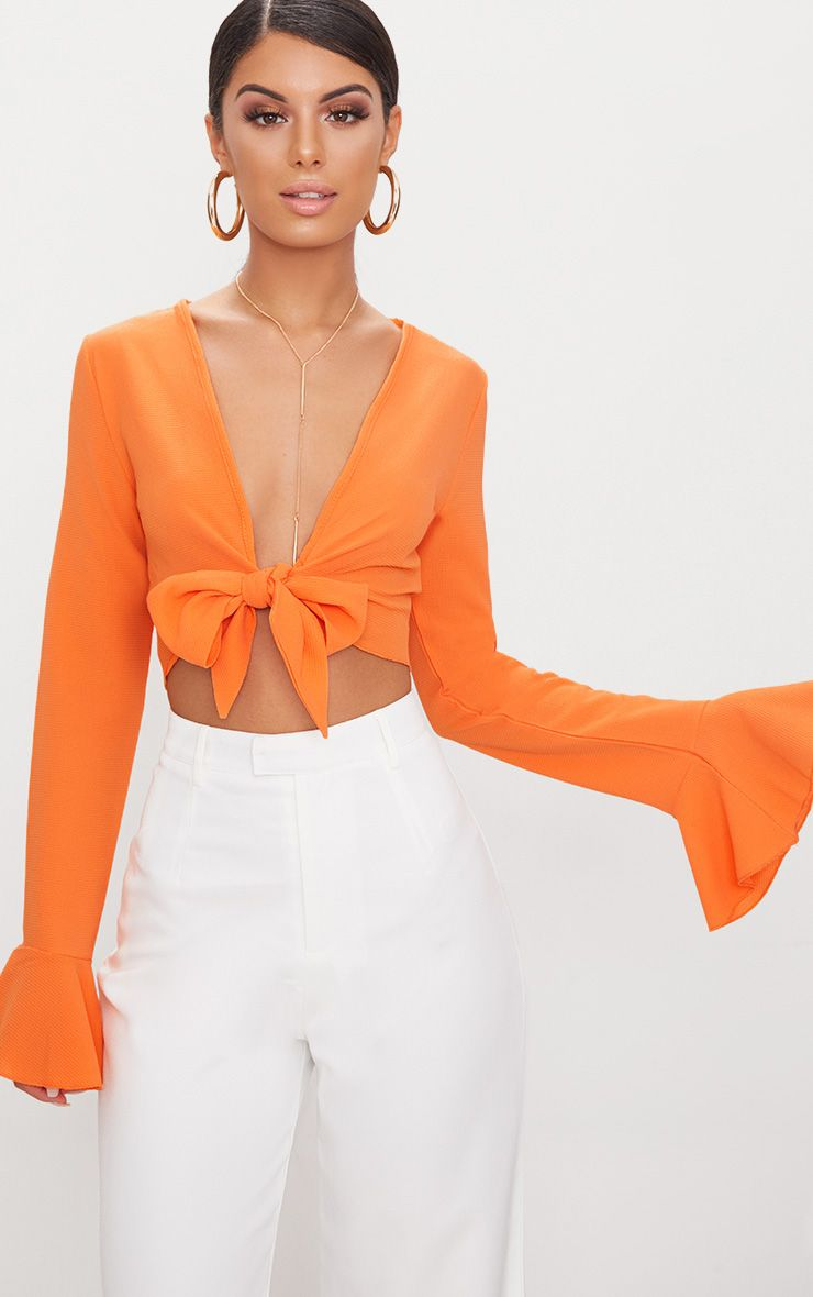 Tangerine Tie Front Frill Sleeve Blouse