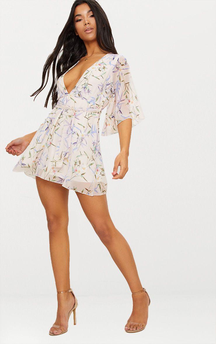 Cream Floral Plunge Skater Dress