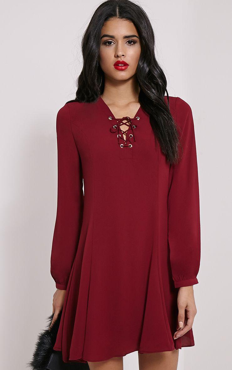 Samara Burgundy Lace Up Chiffon Dress 1