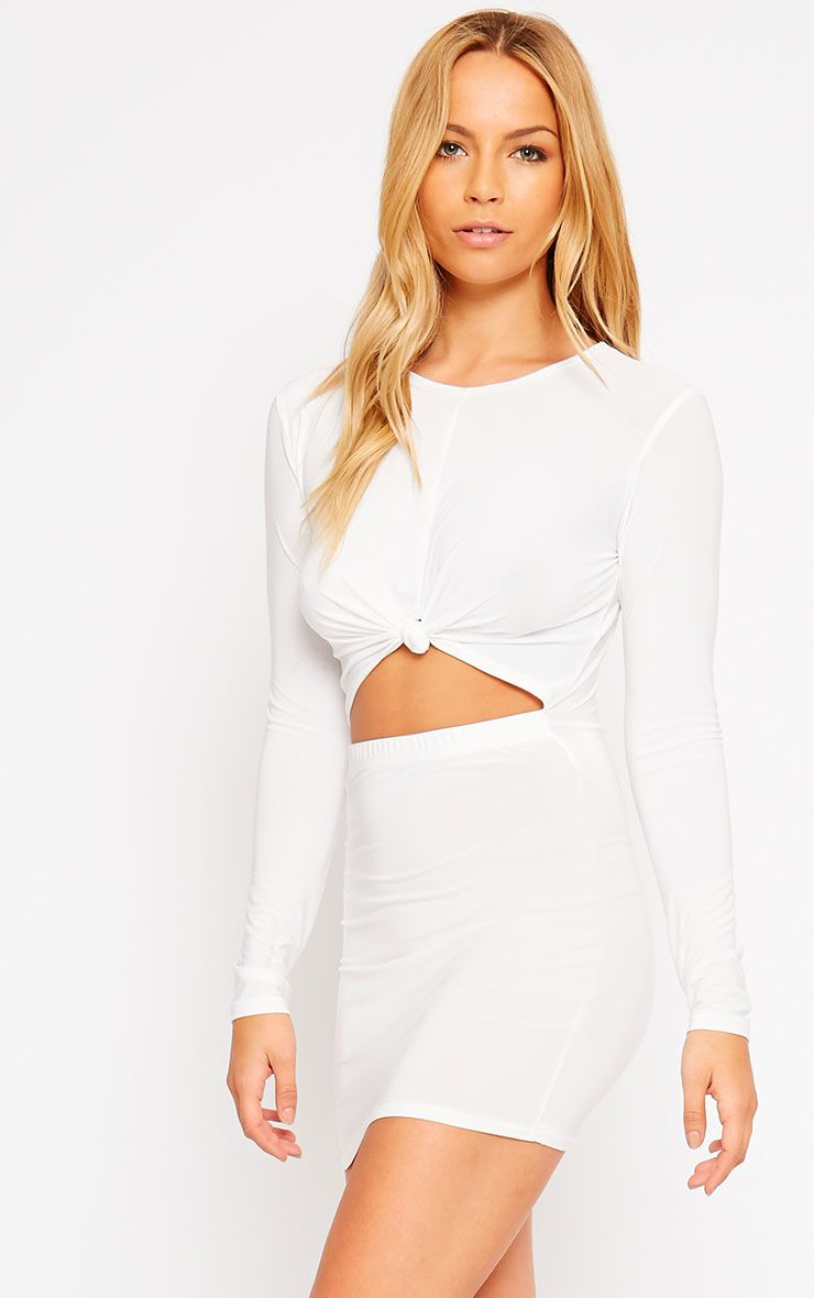 Zafia Cream Long Sleeve Mini Dress 1