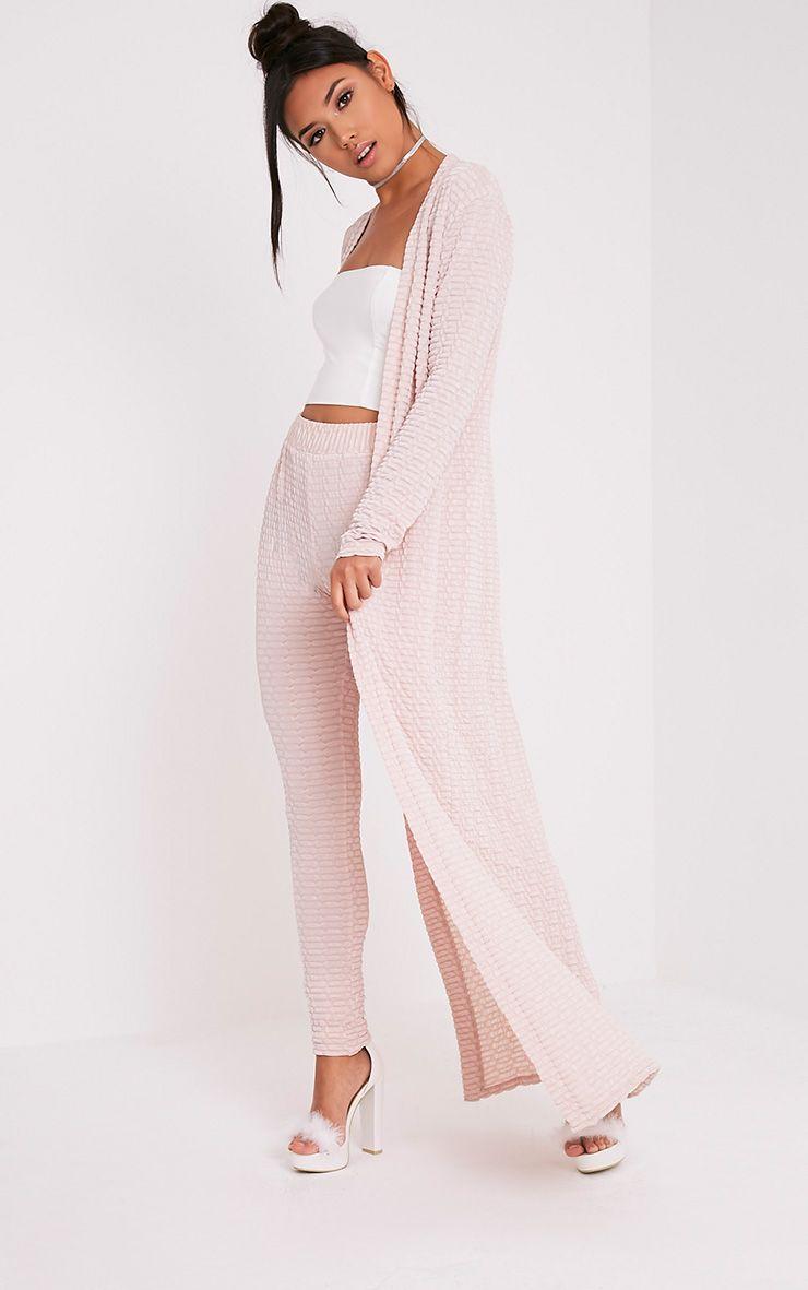 Alecia Nude Textured Maxi Duster Cardigan
