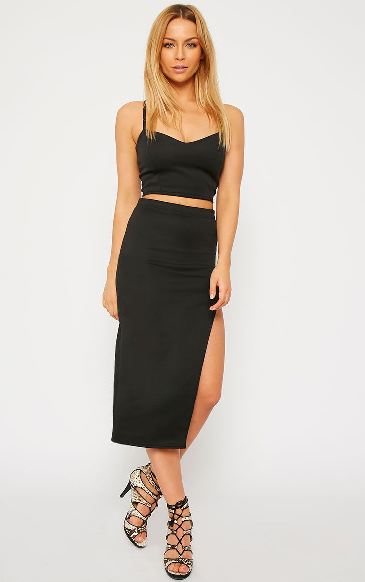 Savina Black Side Split Midi Skirt 1