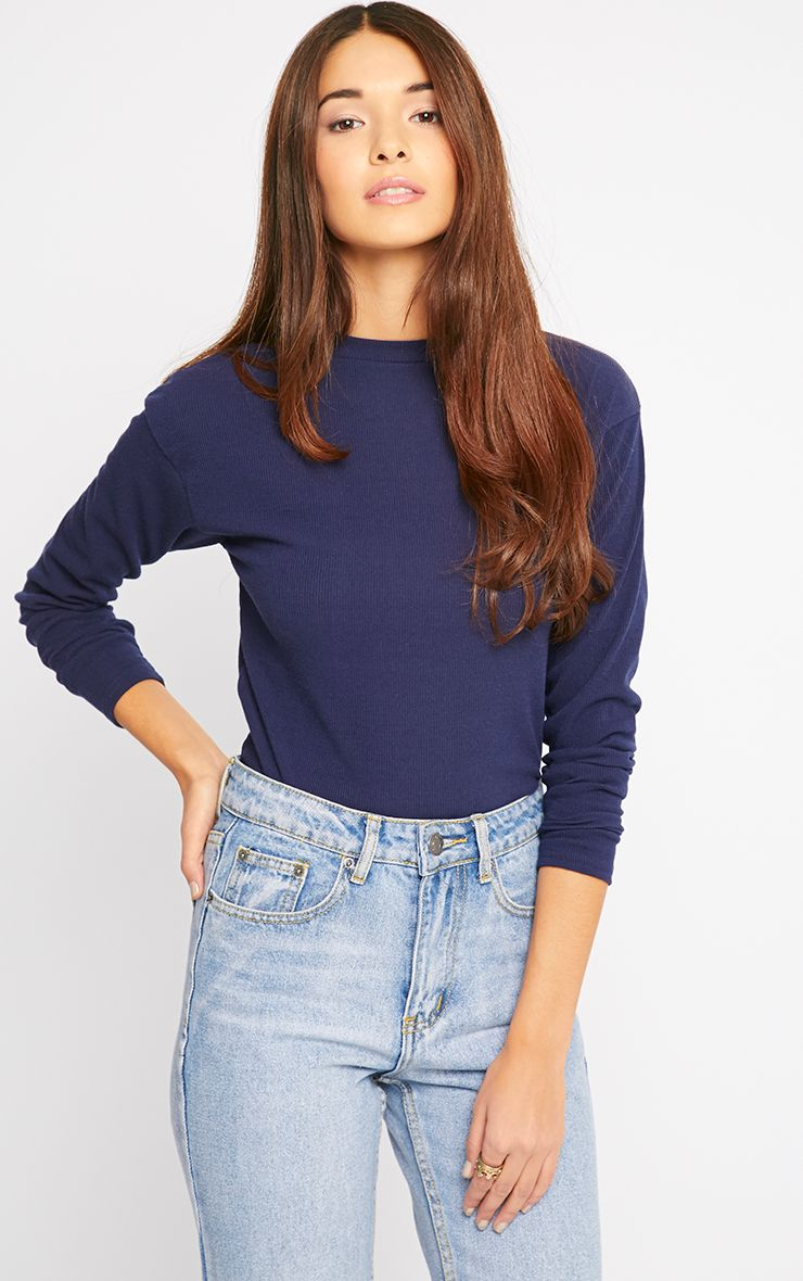 Basic Navy Premium Ribbed Long Sleeve Top 1