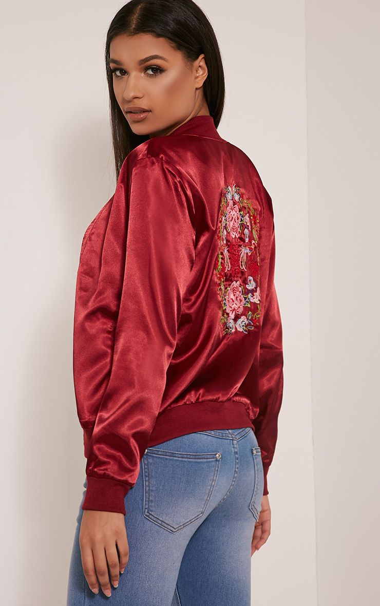 Tonia Red Satin Oriental Embroidered Bomber Jacket 1