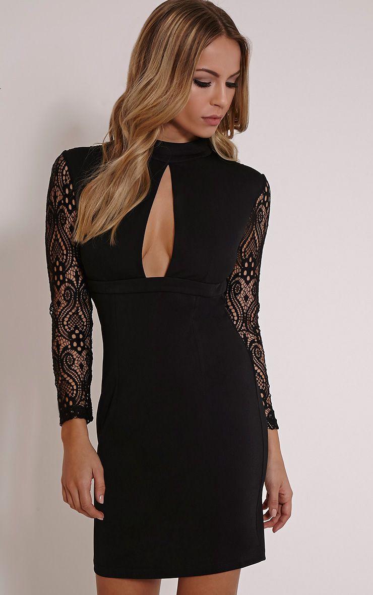 Kerris Black Key Hole Lace Bodycon Dress 1