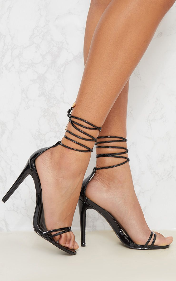 Black Strappy Barely There Ankle Tie Sandal