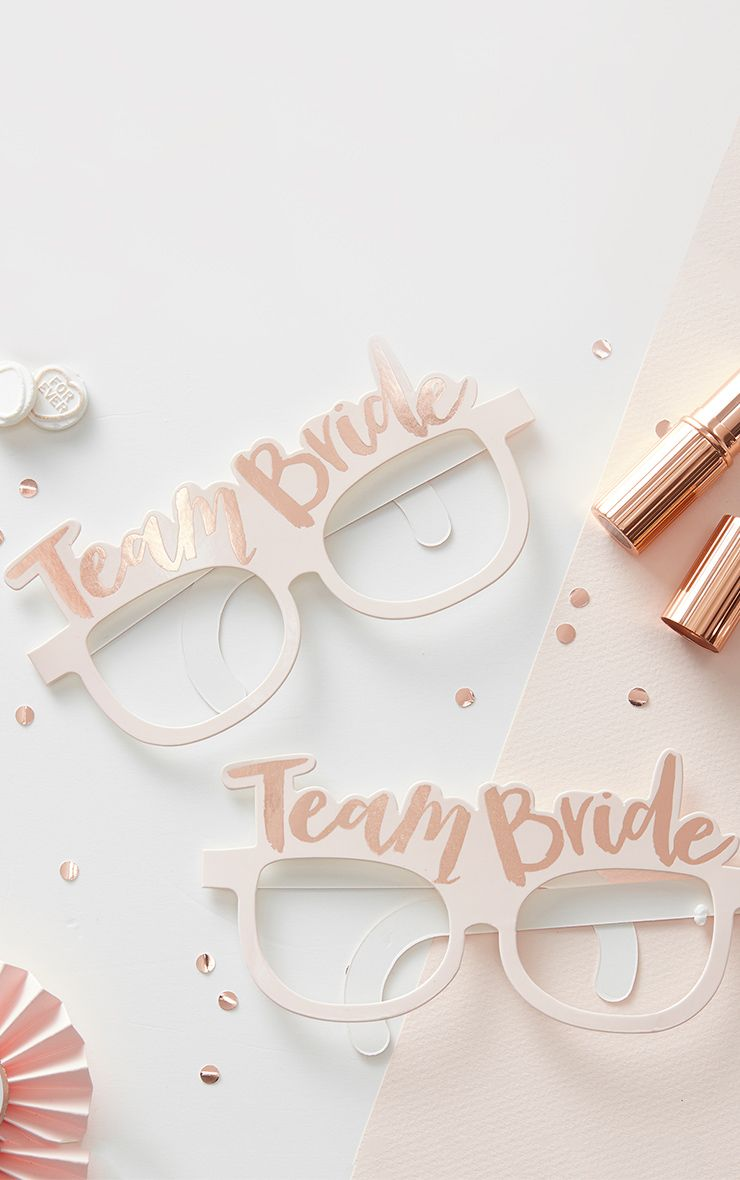 'Team Bride' Rose Gold Paper Glasses