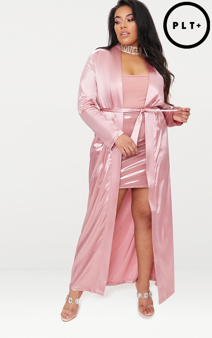plus pink satin duster jacket