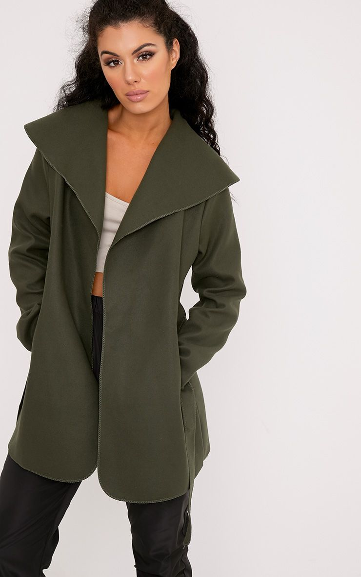 Irinie Khaki Waterfall Belted Coat