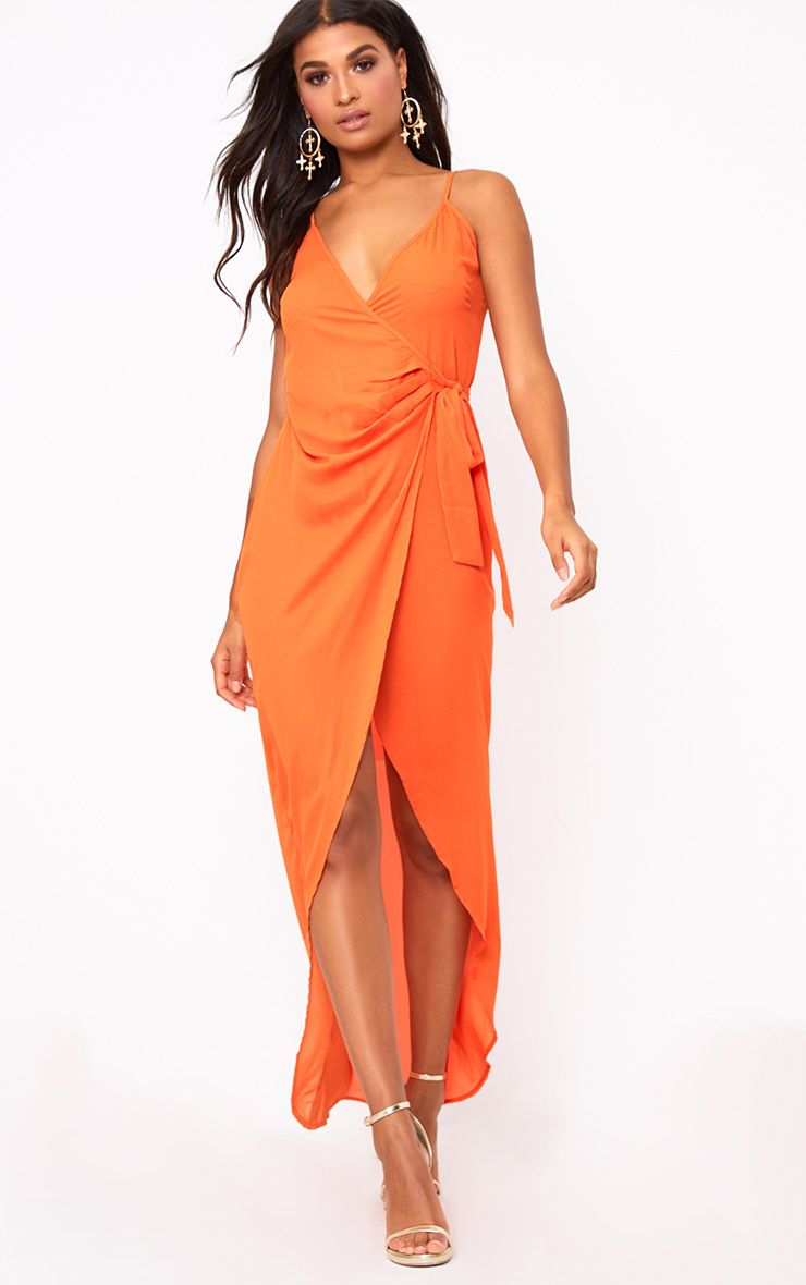 Orange Strappy Wrap Over Maxi Dress