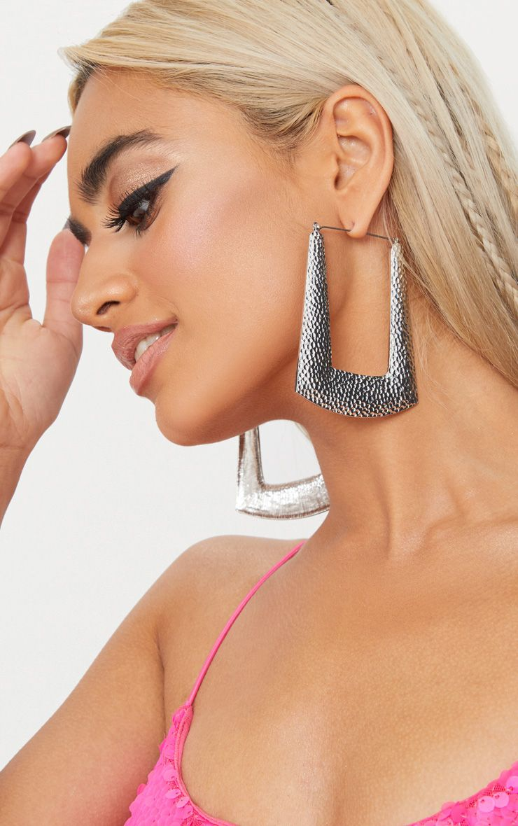 Silver Square Textured Hoop Earrings