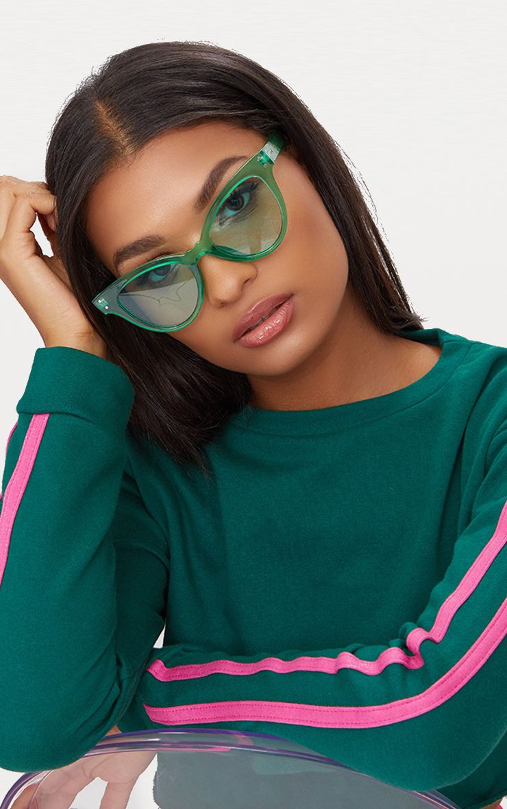 Green Acrylic Cat Eye Sunglasses 1