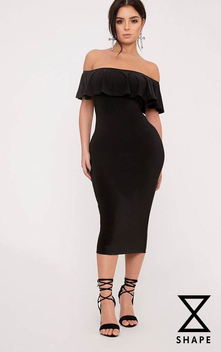 Shape Elena Black Bardot Midi Dress