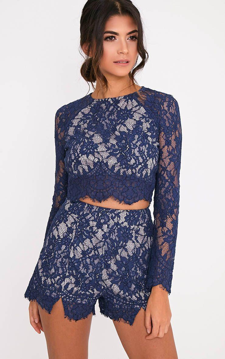 Ellena Navy Lace Long Sleeve Crop Top 1