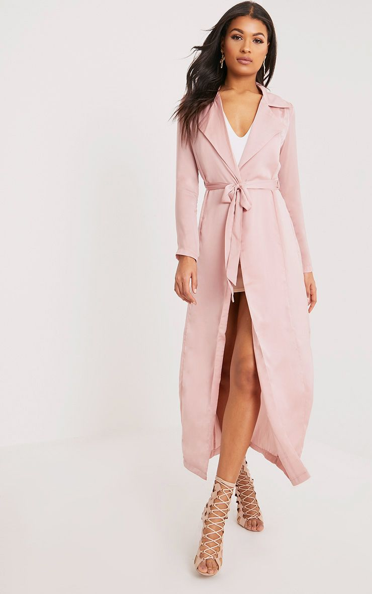 Briley Nude Satin Waterfall Duster Jacket