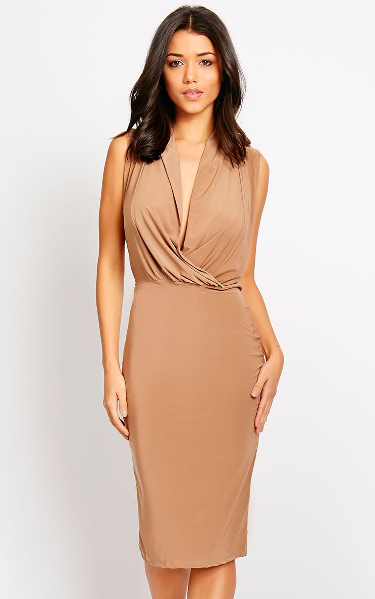 Stella Mocha Drape Midi Dress 1