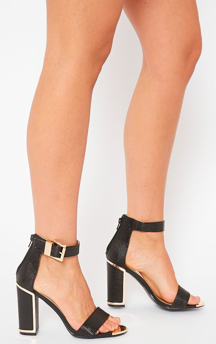 Aubrey Black Gold Trim Heels 1