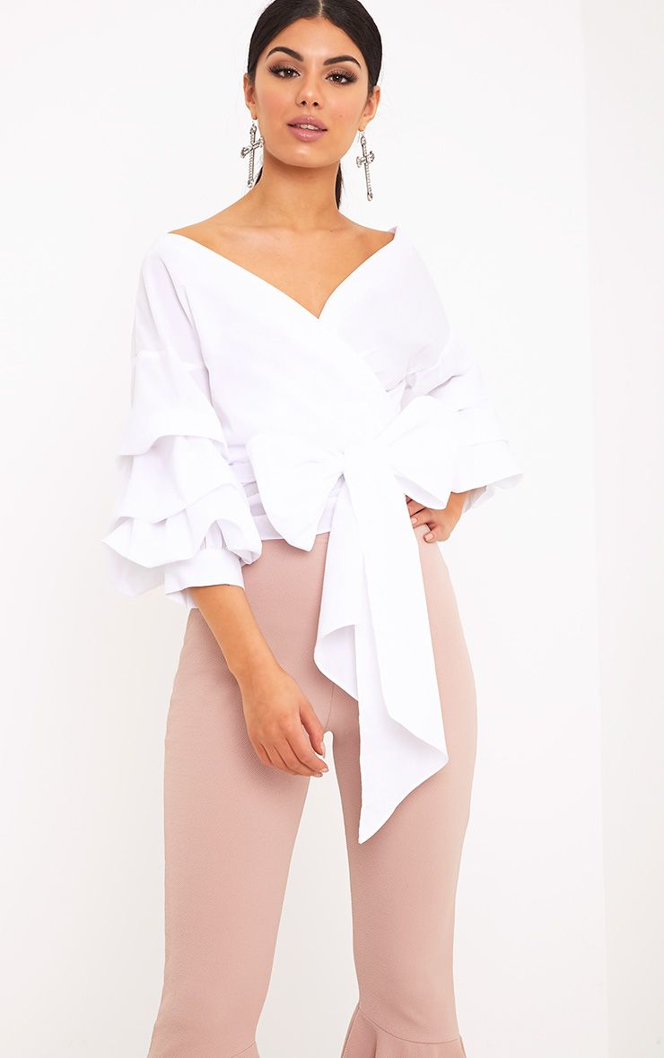 Marlow White Oversized Ruffle Sleeve Low Shoulder Shirt