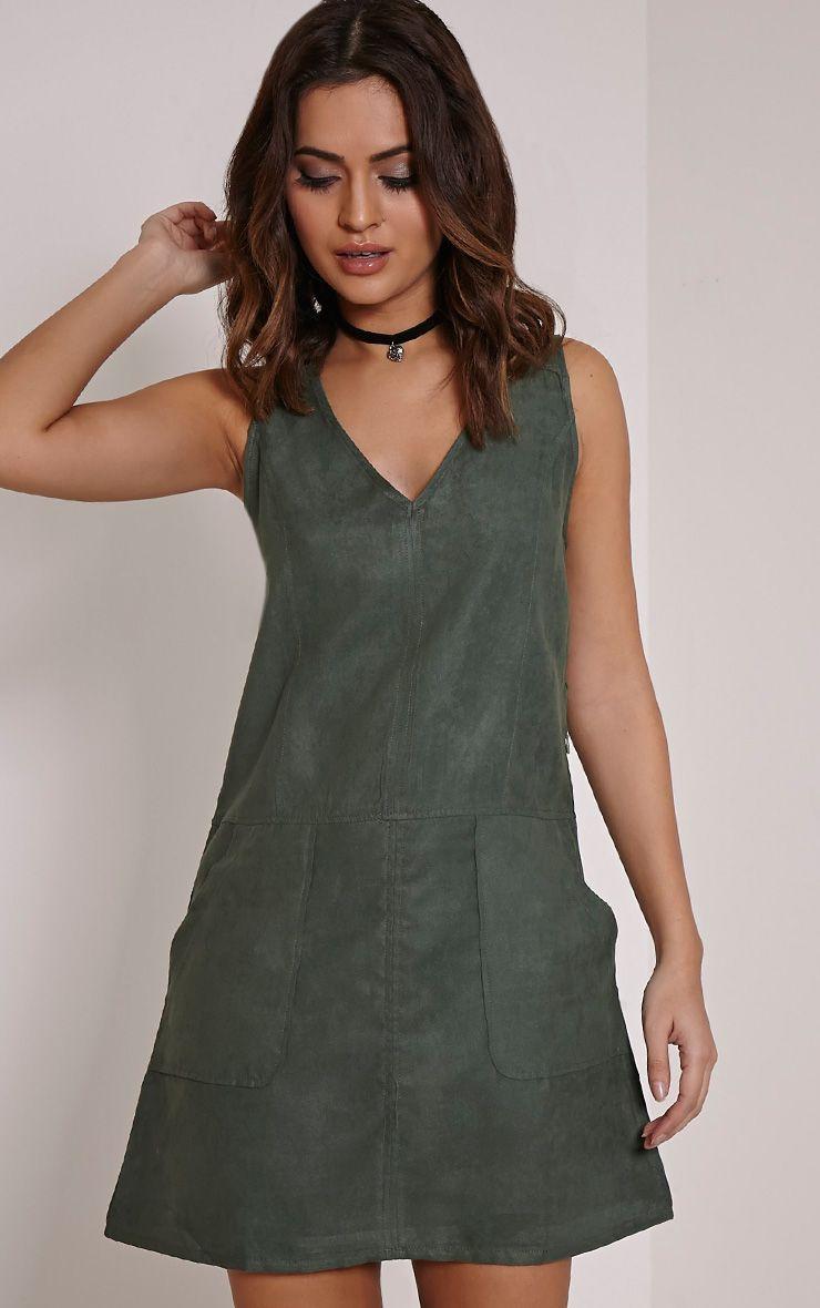 Amerie Khaki Faux Suede A-Line Shift Dress 1