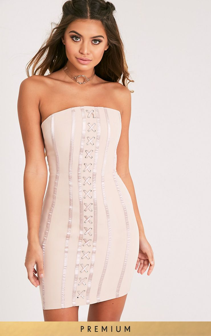 Tarah Nude Boned Lace Up Bandeau Bodycon Dress