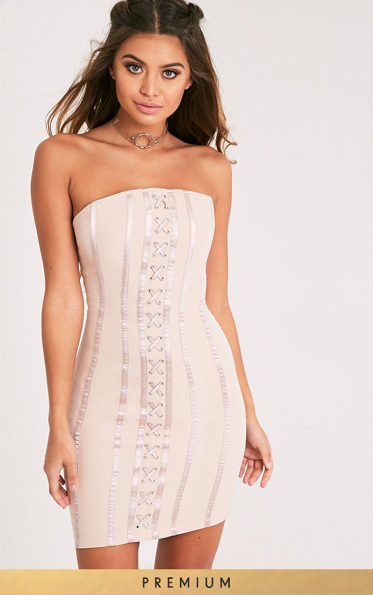 Tarah Nude Boned Lace Up Bandeau Bodycon Dress 1