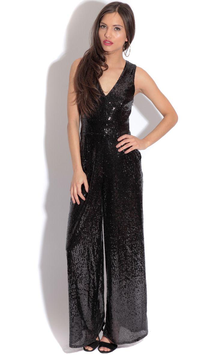 Cece Black Sequin Jumpsuit 1