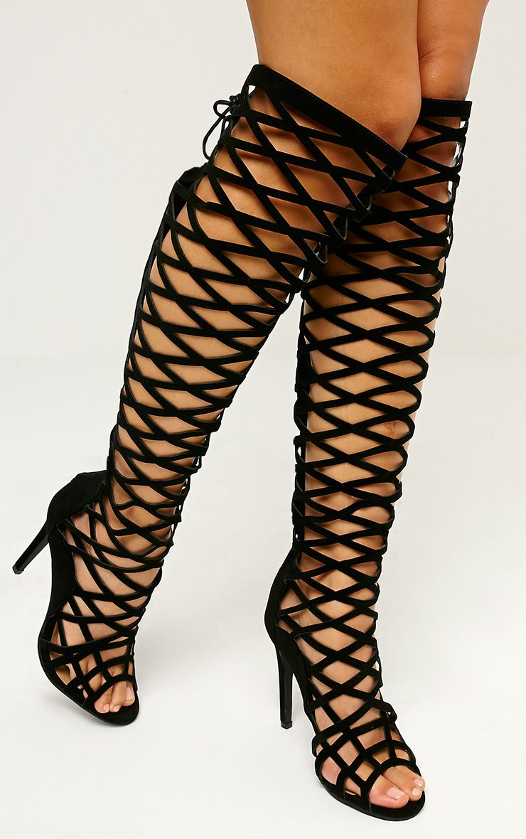 Xyra Black Caged Knee Boots 1