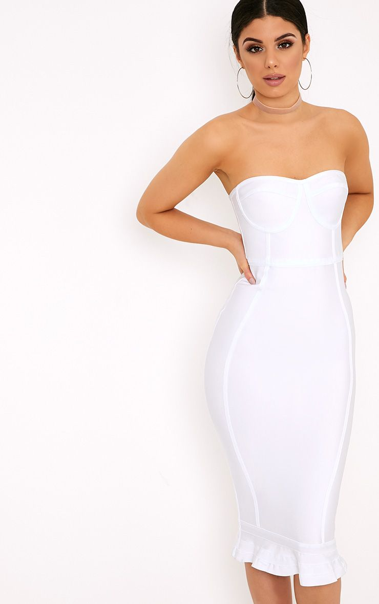 Roxina White Bandage Frill Hem Midi Dress