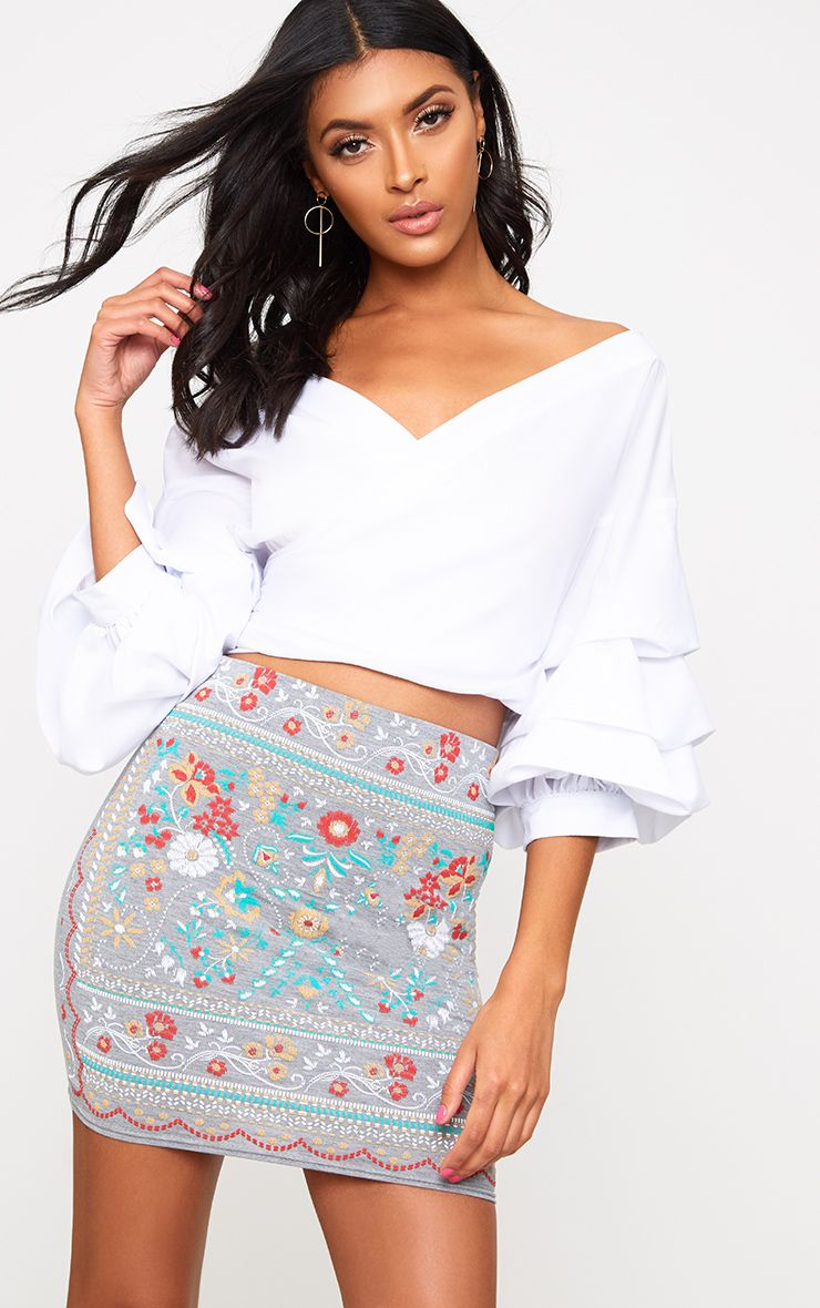 Grey Embroidered Printed Jersey Mini Skirt