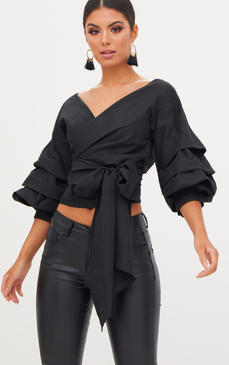 Marlow Oversized Black Ruffle Sleeve Low Shoulder Shirt 1