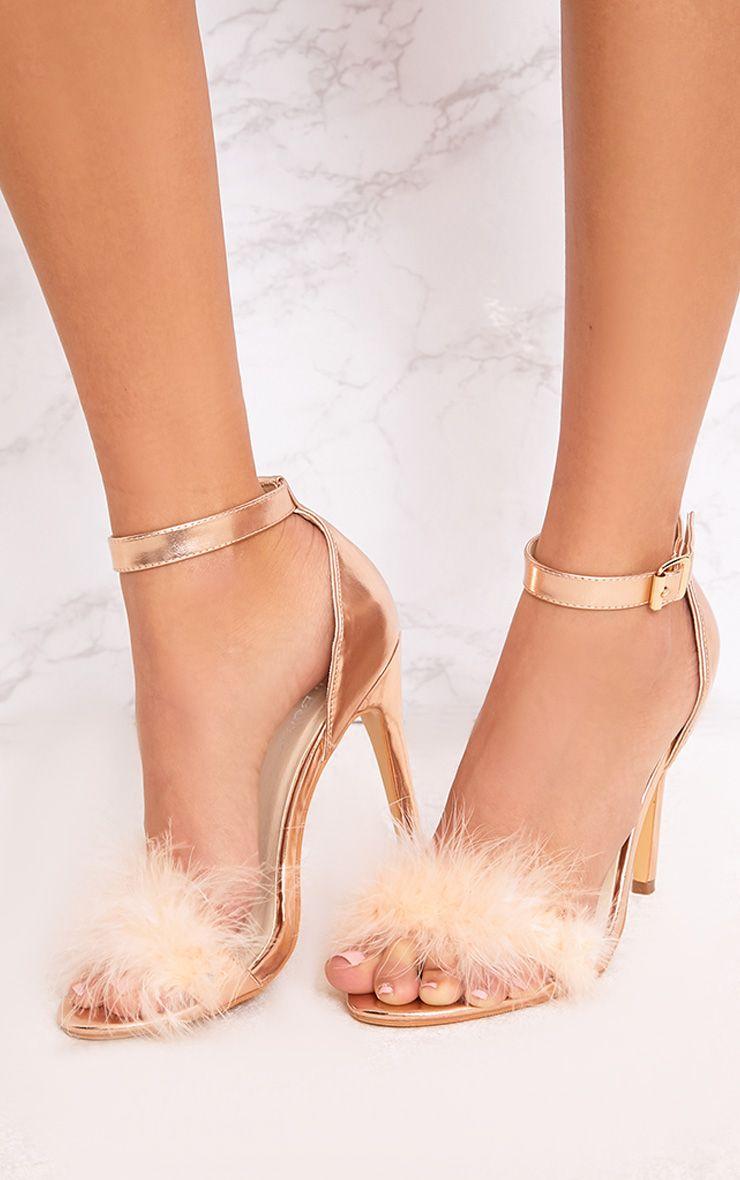 PRETTYLITTLETHING Soraya Nude Feather Strap Heels P24Qm