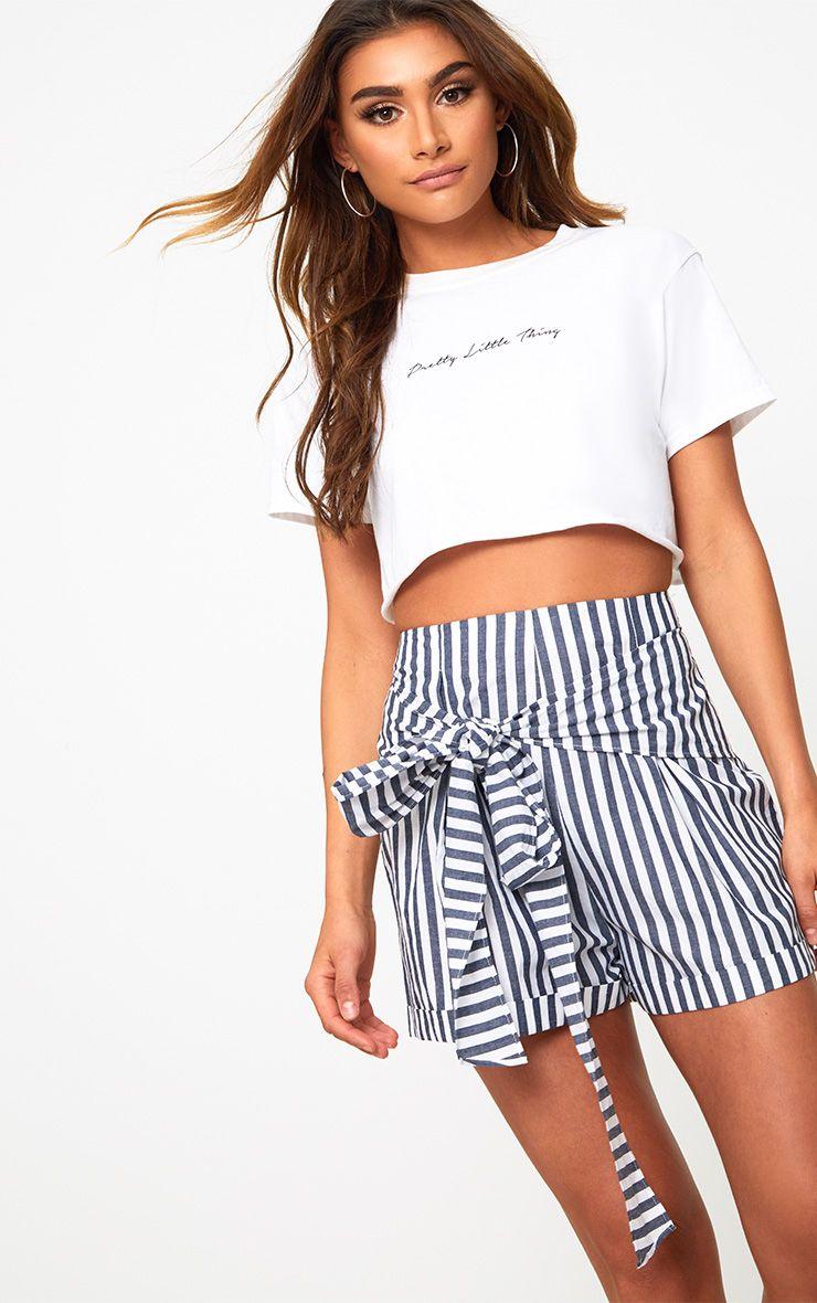 Navy Tie Waist Stripe Shorts