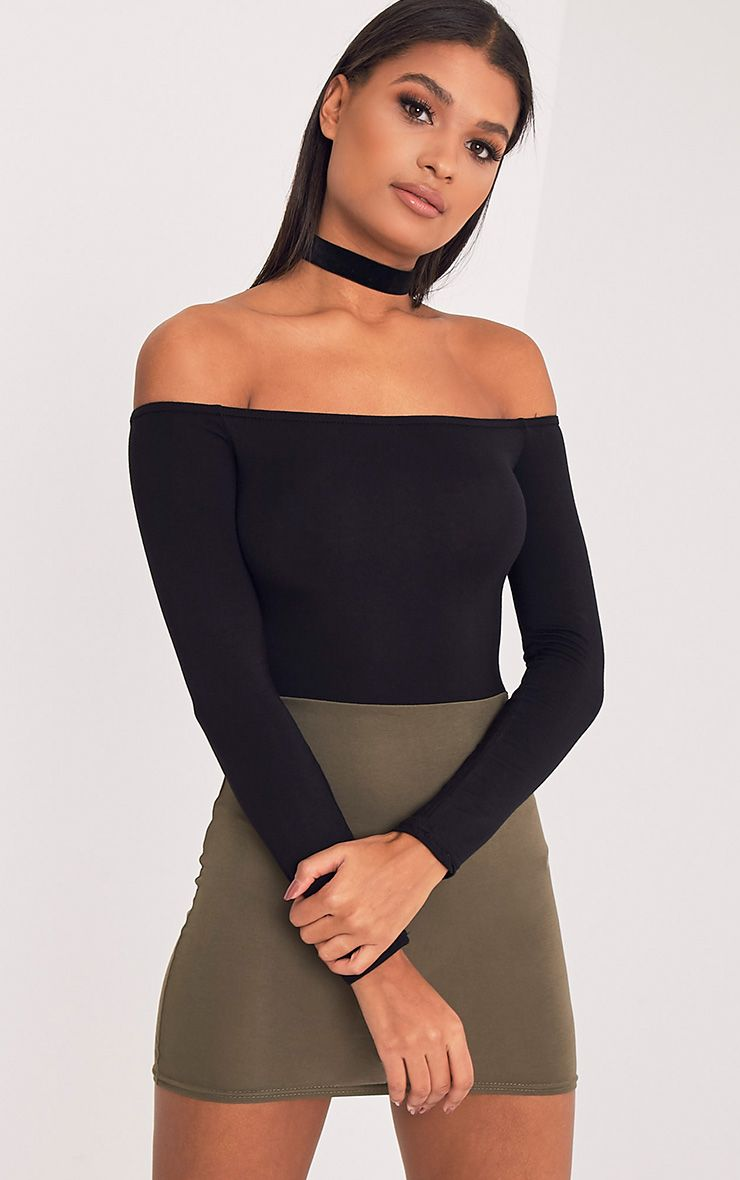 Miyana Khaki Contrast Bardot Bodycon Dress