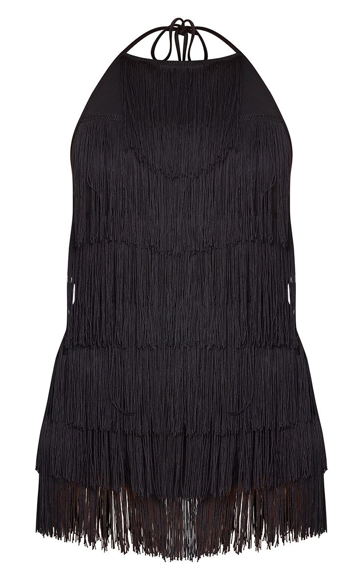 27a43ac6c7 PrettyLittleThing Kristine Black Tassel Playsuit at £35