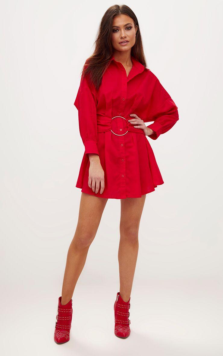 Red Ring Waist Detail Shirt Dress 1