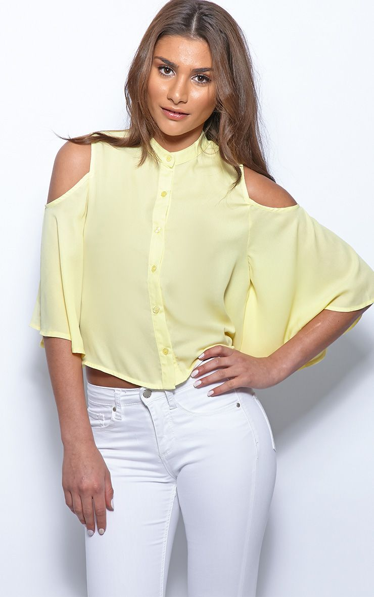 Laurie Yellow Chiffon Cut Out Cropped Shirt 1