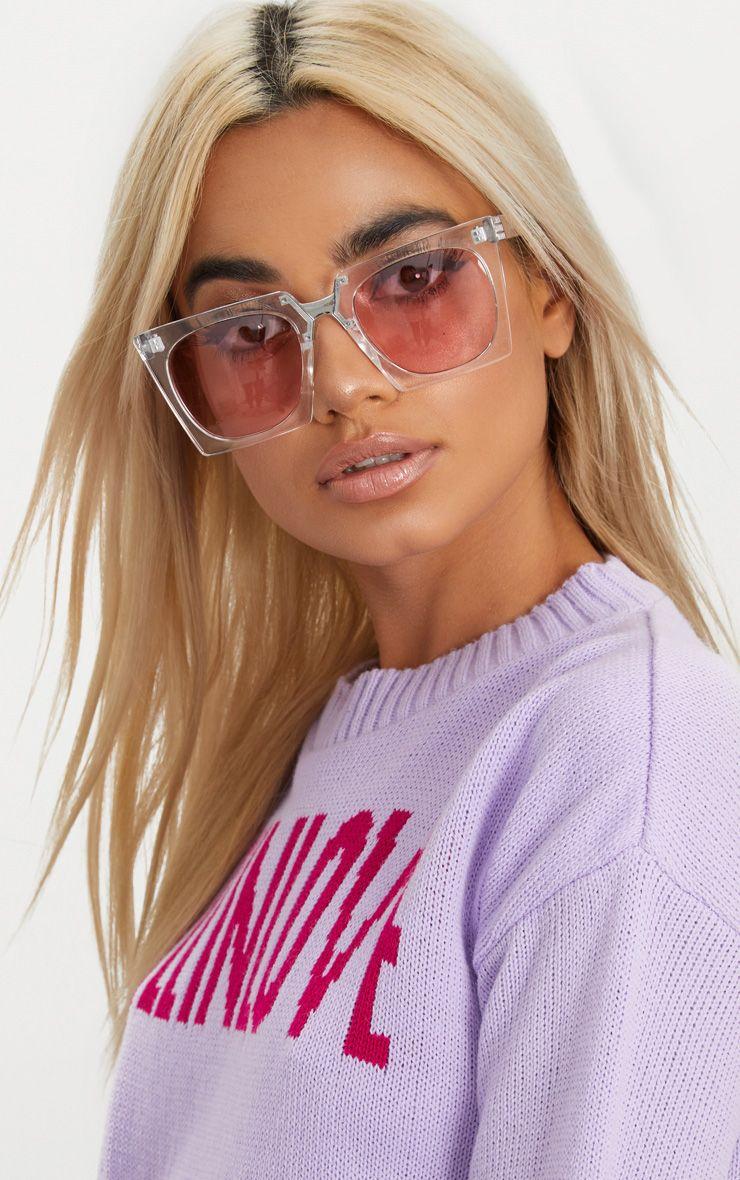 Pink Lens Angular Frame Retro Sunglasses
