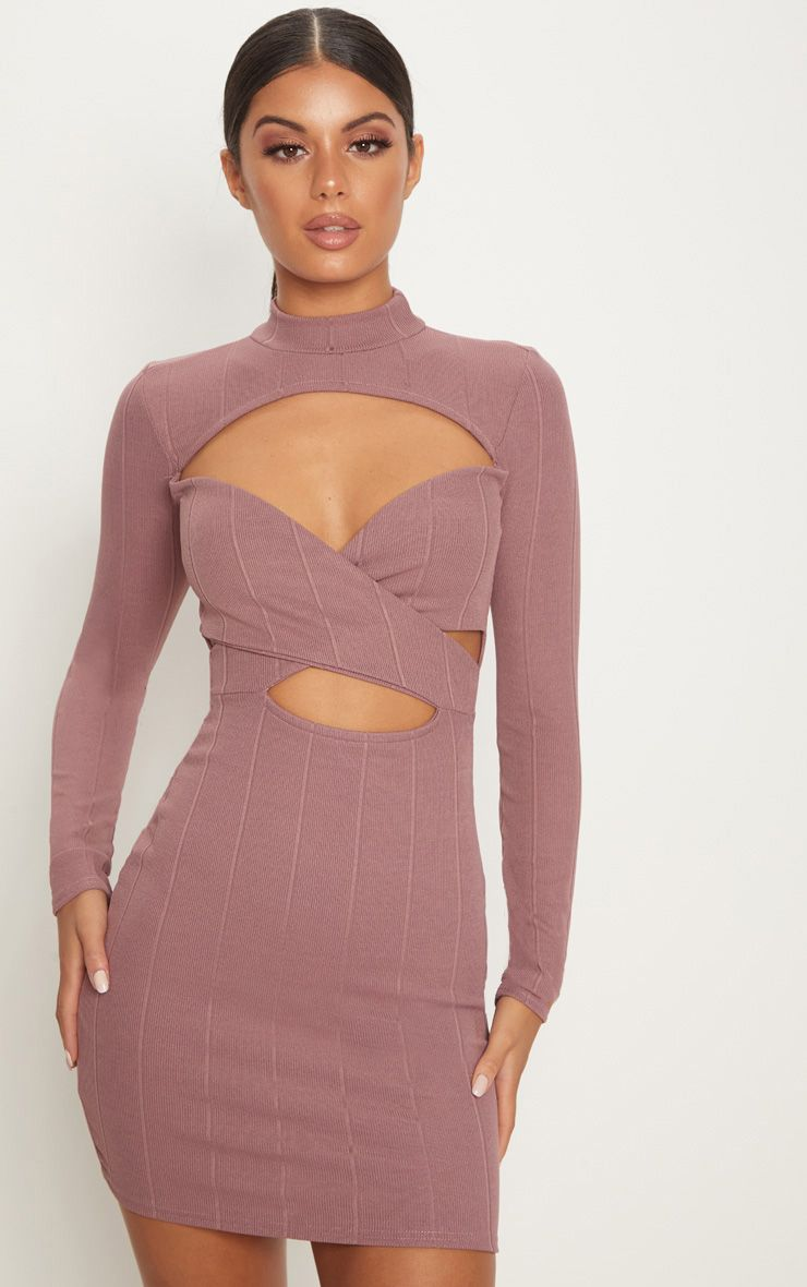 Mauve Bandage High Neck Cut Out Long Sleeve Bodycon Dress