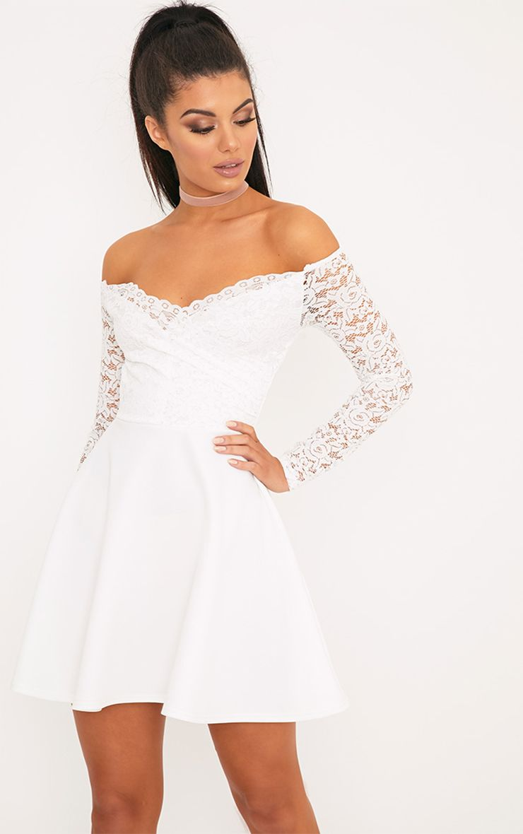 Luciel White Lace Sleeve Bardot Skater Dress