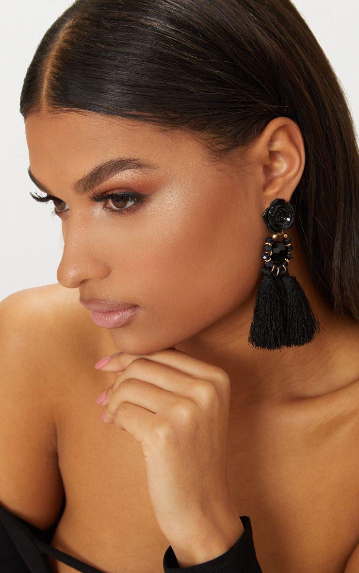 Black Rose Tassel Drop Earrings