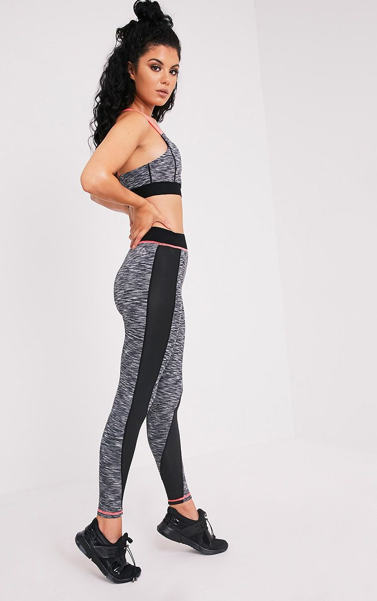 Eliza legging de sport à empiècements chinés rose fluo 1