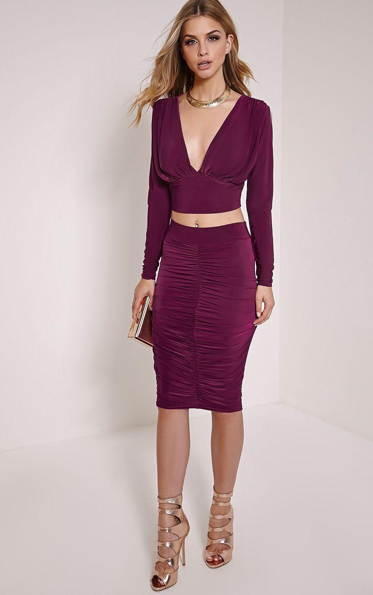 Nicole Plum Slinky Ruched Midi Skirt 1