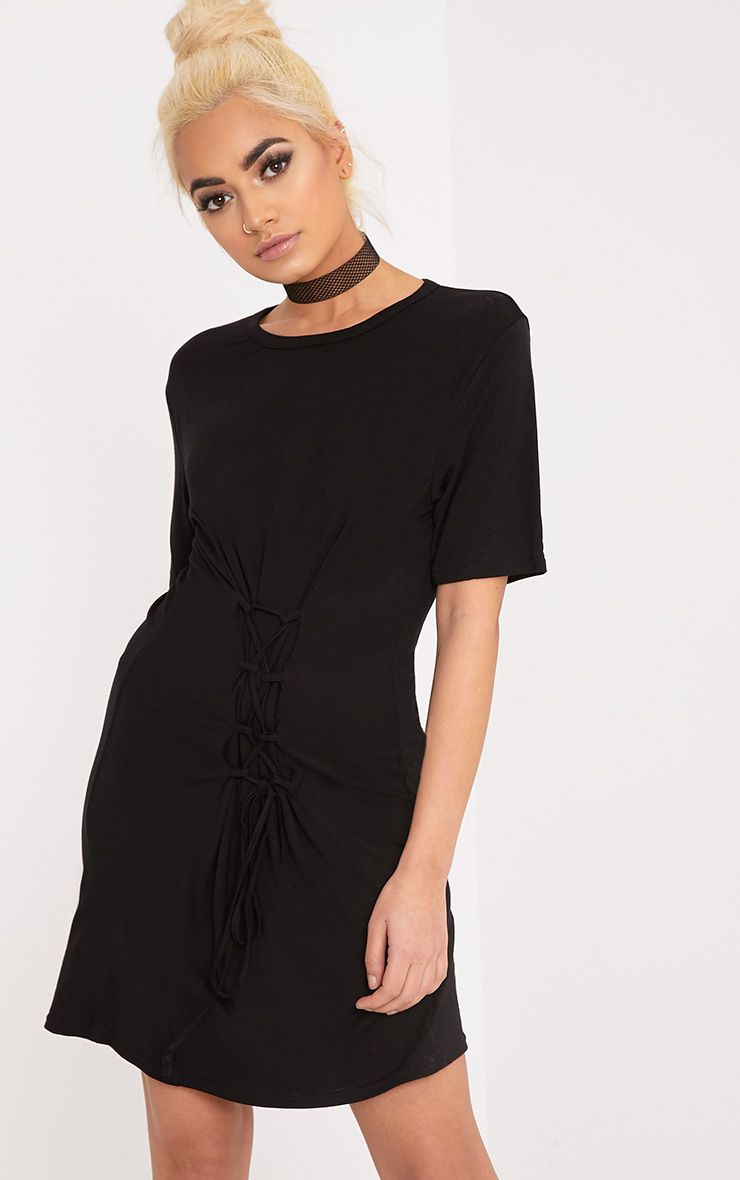 Benayah Black Jersey Corset Detail T Shirt Dress  1
